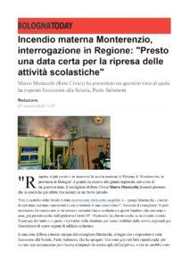 Read more about the article Incendio materna Monterenzio, interrogazione in Regione di Marco Mastacchi (Rete Civica)