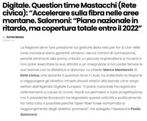 """Read more about the article Mastacchi (Rete civica): """"Accelerare sulla fibra nelle aree montane"""