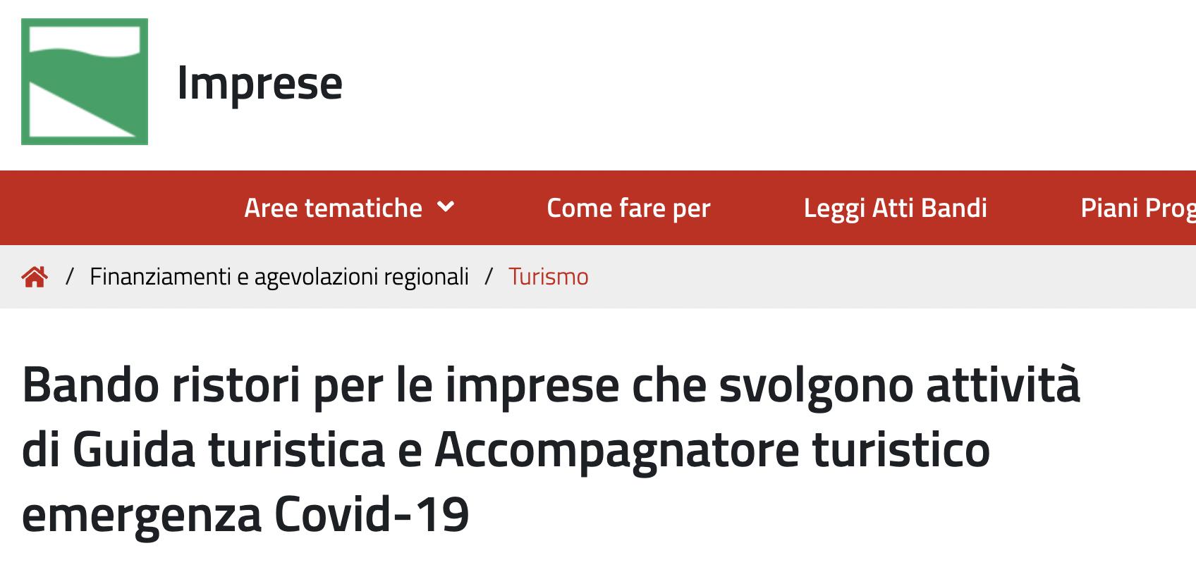 You are currently viewing Ristori per le Guide turistiche e Accompagnatori turistici entro il 4 agosto 2021