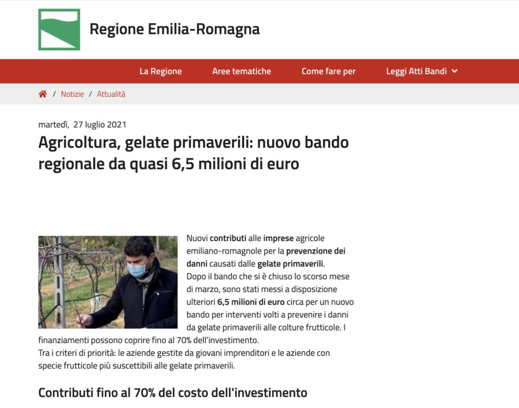 Agricoltura, gelate primaverili: nuovo bando regionale da quasi 6,5 milioni di euro