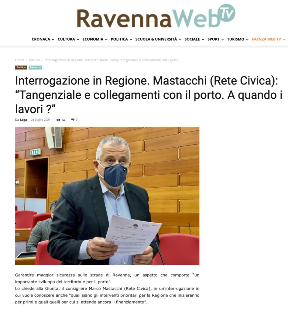 """Ravenna: Mastacchi (Rete Civica): """"Tangenziale e collegamenti con il porto. A quando i lavori ?"""""""