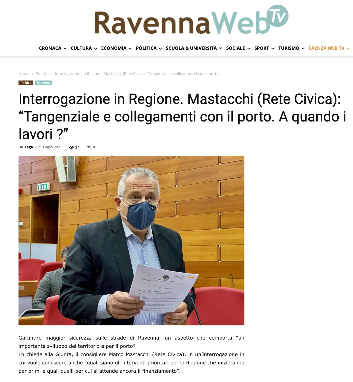 """You are currently viewing Ravenna: Mastacchi (Rete Civica): """"Tangenziale e collegamenti con il porto. A quando i lavori ?"""""""