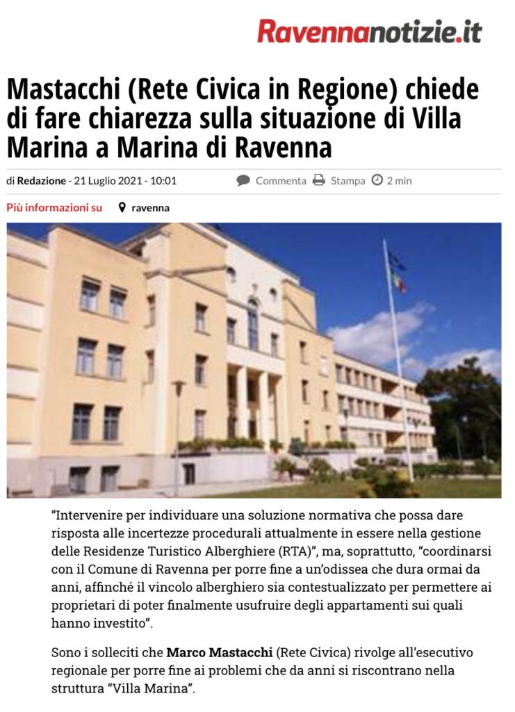 Mastacchi (Rete Civica in Regione) chiede di fare chiarezza sulla situazione di Villa Marina a Marina di Ravenna