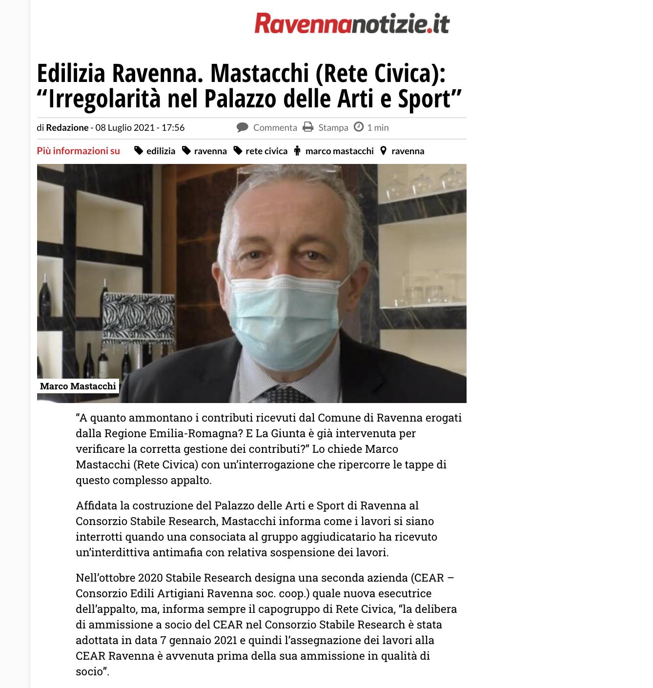 """Edilizia Ravenna. Mastacchi (Rete Civica): """"Irregolarità nel Palazzo delle Arti e Sport"""""""